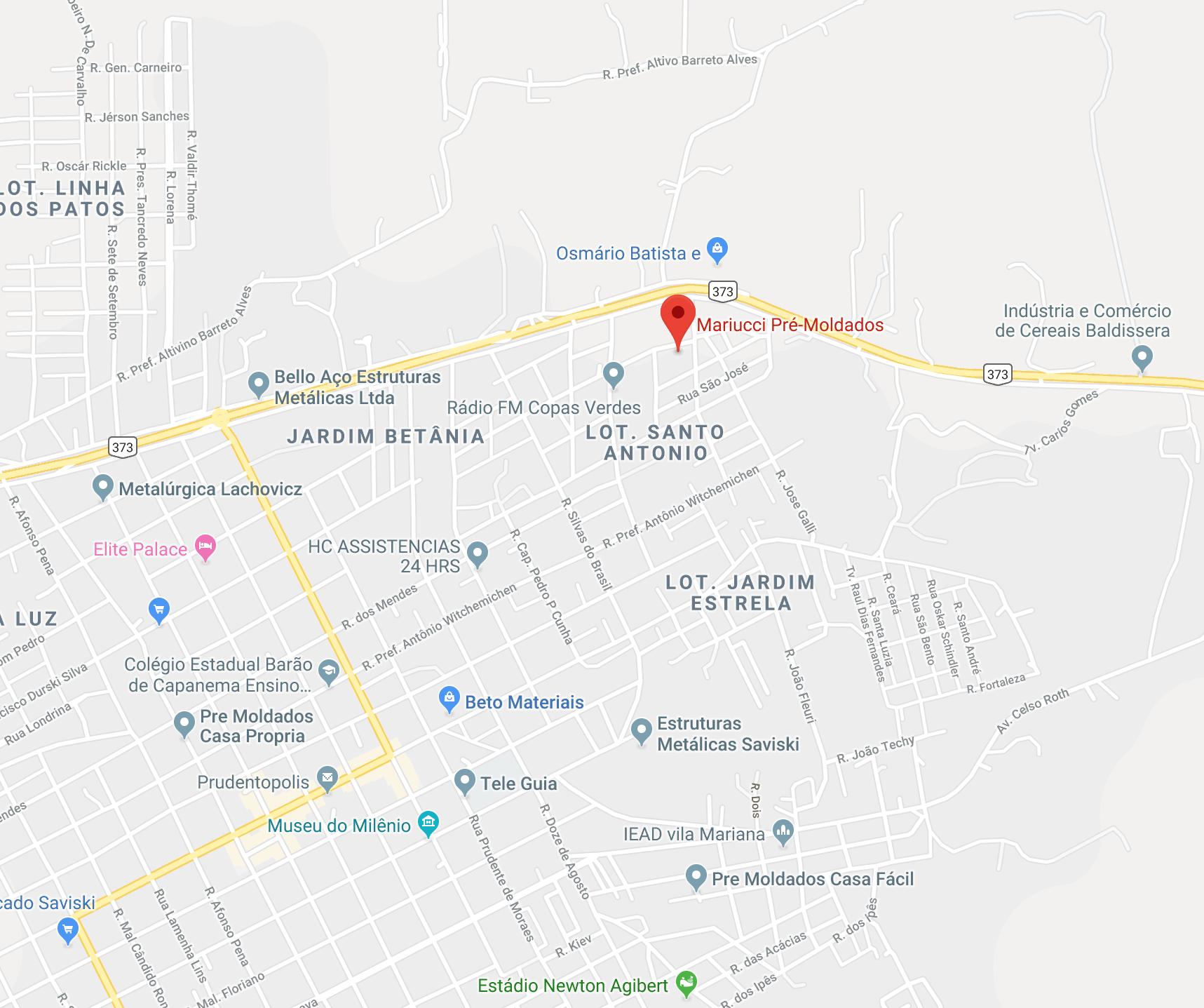 Localização Mariucci Pré-Moldados